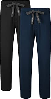 Men's 2 Pack Sleep Pants Cotton Lounge Pants Jersey Knit Pajama Pants Big and Tall Pajama Bottoms S~XL