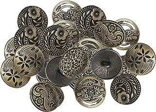 kowaku 30 peças Botões de Metal Cor de Bronze Antigo de Metal Variados Botões Mistos Rodada Botões para DIY Artesanato Cos...