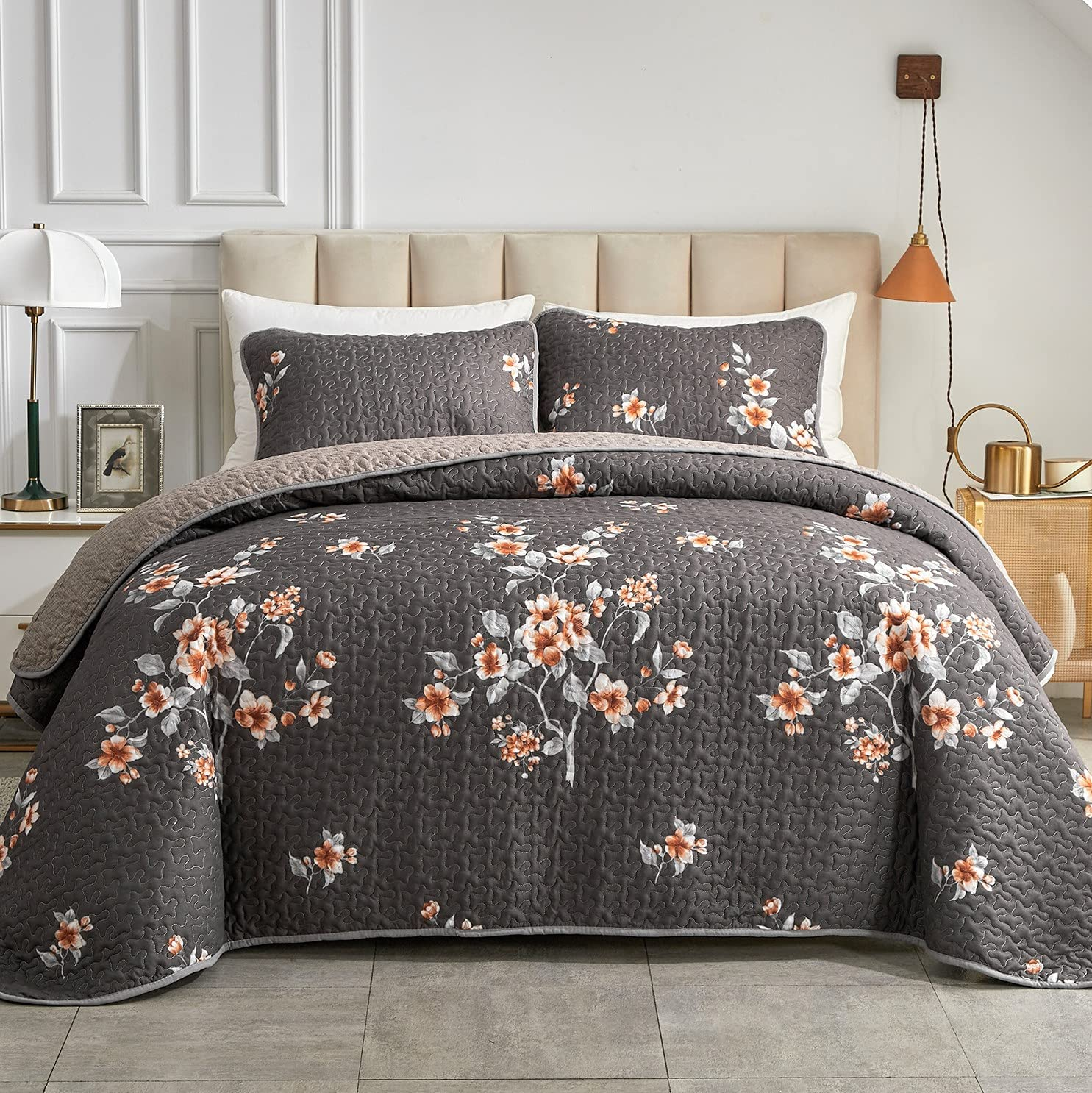 2 Pieces Twin Size Quilt Set Floral Dark Reversible Gray Bedspr Ranking Las Vegas Mall TOP9