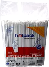 Hotpack Disposable Wrapped Plastic Drinking Straws - 6Mm, 250 Pcs