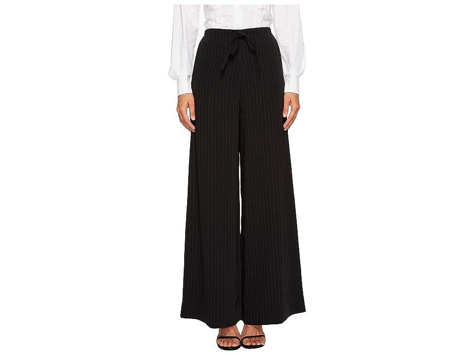 McQ Long Casual Soft Pinstripe Pants (Darkest Black) Women