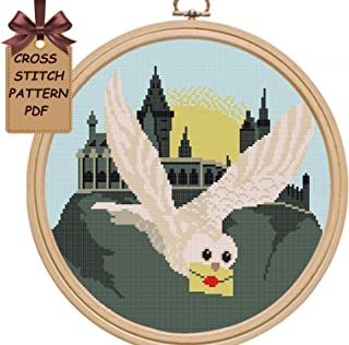 Cross stitch patterns owl pdf, Hogwart modern counted easy for beginners cross stitch sampler design, wall decor DIY