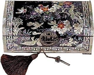 Living Equipment Boîte à bijoux Boîte de rangement chinoise Boîte à bijoux artisanale en laque peinte Bois laqué et miroir...