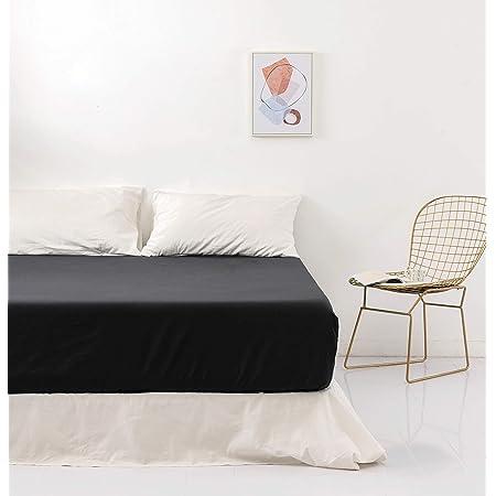 MOHAP Drap Housse 140x190/200 cm 110 Fils/cm² Noir avec Bonnet 30cm en Microfibre pour Matelas Epais Drap de lit Extensible