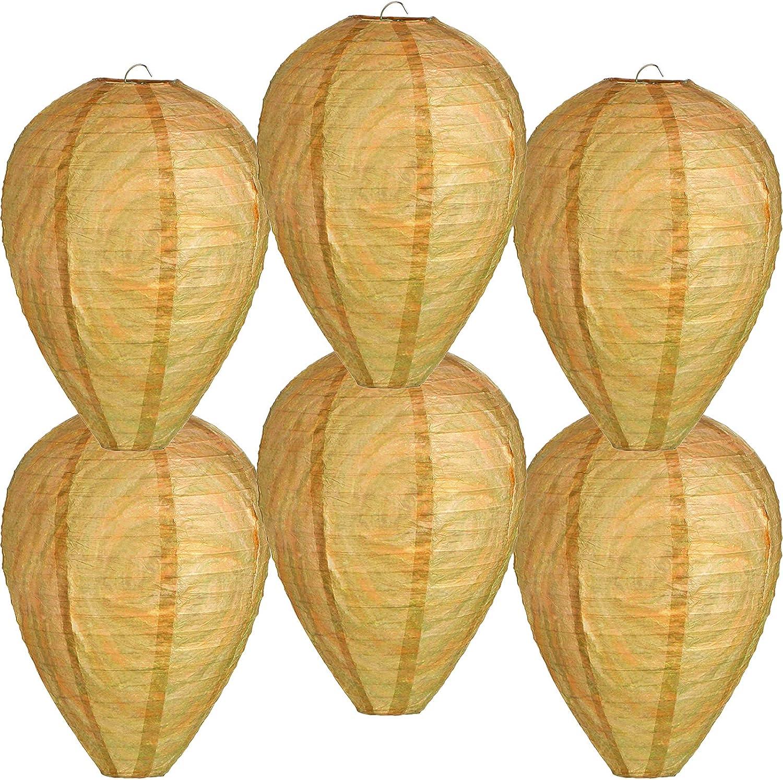Mini Señuelo de Nido de Avispas Falsos Colgantes Disuasor de Avispas Abejas Linterna de Colmena de Motivar de Papel para Casa y Jardín Exterior (6 Piezas)