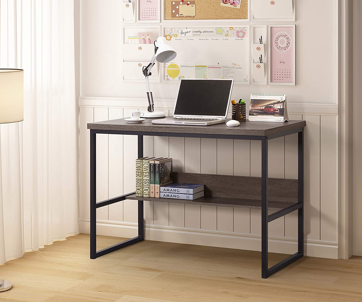 Weathered Grey Finish Large Computer Desk with Bookshelf, Office Desk, Writing Desk, Wood and Metal Frame, Study Table Workstation for Home Office Furniture, Industrial Style