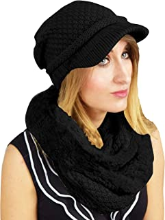 Peach Couture Thick Crochet Plush Visor Beanie Hat Infinity Loop Scarf 2 Pack