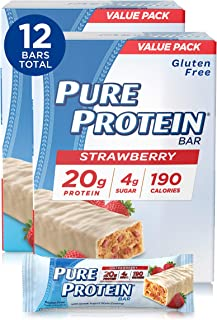 Pure Protein Bars, High Protein, Nutritious Snacks to Support Energy, Low Sugar, Gluten Free, Strawberry Greek Yogurt, 1.7...