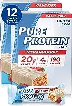 Pure Protein Bars, High Protein, Nutritious Snacks to Support Energy, Low Sugar, Gluten Free, Strawberry Greek Yogurt, 6 B...