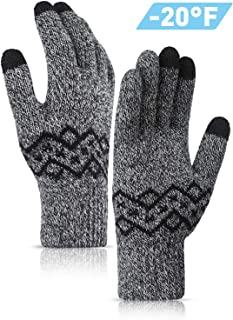 TRENDOUX -20°F(-29℃) Thickened Knit Winter Gloves for Men and Women, Touch Screen Fingertips, Elastic Cuff, Thermal Soft Lining, Very Warm for Cold Weather
