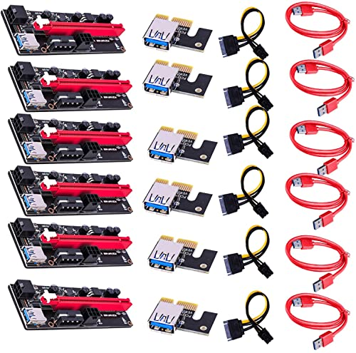 discount PCI-E Express Cable 1X to 16X Graphics Extension Ethereum ETH Mining Powered Riser Adapter Card, 60cm USB discount 3.0 Cable, 4 Solid Capacitors, 6pin Power online sale Slot Connector(6 Pack) online