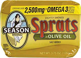 Season Lightly Smoked Sprats in Olive Oil, 3.75 Ounce (Pack of 12)
