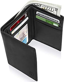 Trifold Wallets For Men RFID – Genuine Leather Slim Mens Wallet With ID Window..