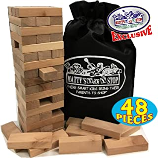 "Wooden Tower Deluxe Stacking Game with Exclusive ""Matty's Toy Stop"" Storage Bag"