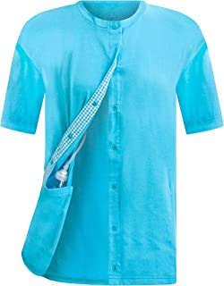Breast Cancer Recovery Tee with Internal Drain Management Pockets