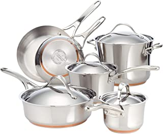 Anolon Nouvelle Stainless Steel Cookware Pots and Pans Set, 10 Piece