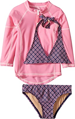 Navy Pink Pattern Bikini & Pink Rashguard Set (Infant/Toddler/Little Kids/Big Kids)