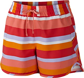 Columbia Women's Cool Coast Shorts, Hot Coral Multi Stripe, Large