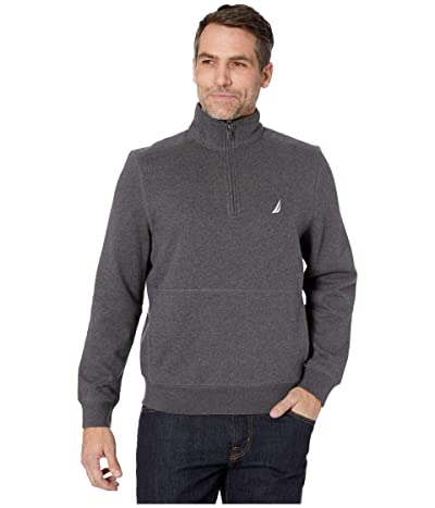 Nautica 1/4 Zip Fleece Pullover (Charcoal Heather) Men