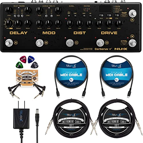 """discount NUX Cerberus with IR Loader, Overdrive, Distortion, Delay Effects sale Bundle with Blucoil 9V AC outlet sale Adapter, 2x 10' Straight Instrument Cable (1/4""""), 2x 5' MIDI Cable, 2x Patch Cables, and 4x Guitar Picks online"""