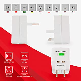 Multi Power Adapter with Surge Protection, Universal Plug with Power Indicator light, AC Outlet Power Plug Adapters for In...