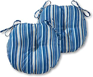 Greendale Home Fashions 15 in. Round Outdoor Bistro Chair Cushion in Coastal Stripe (set of 2), Sapphire