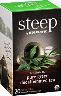 Steep by Bigelow Organic Pure Green Decaffeinated Tea 20 Count, Decaffeinated Individual Green Tea Bags, for Hot Tea or Iced Tea, Drink Plain or Sweetened with Honey or