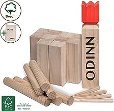 Moorland Original Kubb Spiel XXL Odinn – Schweres Buche Premium FSC® Holzspiel mit Stoffbeutel - Wikingerspiel Outdoor Spiele Schwedenschach Holzspiele