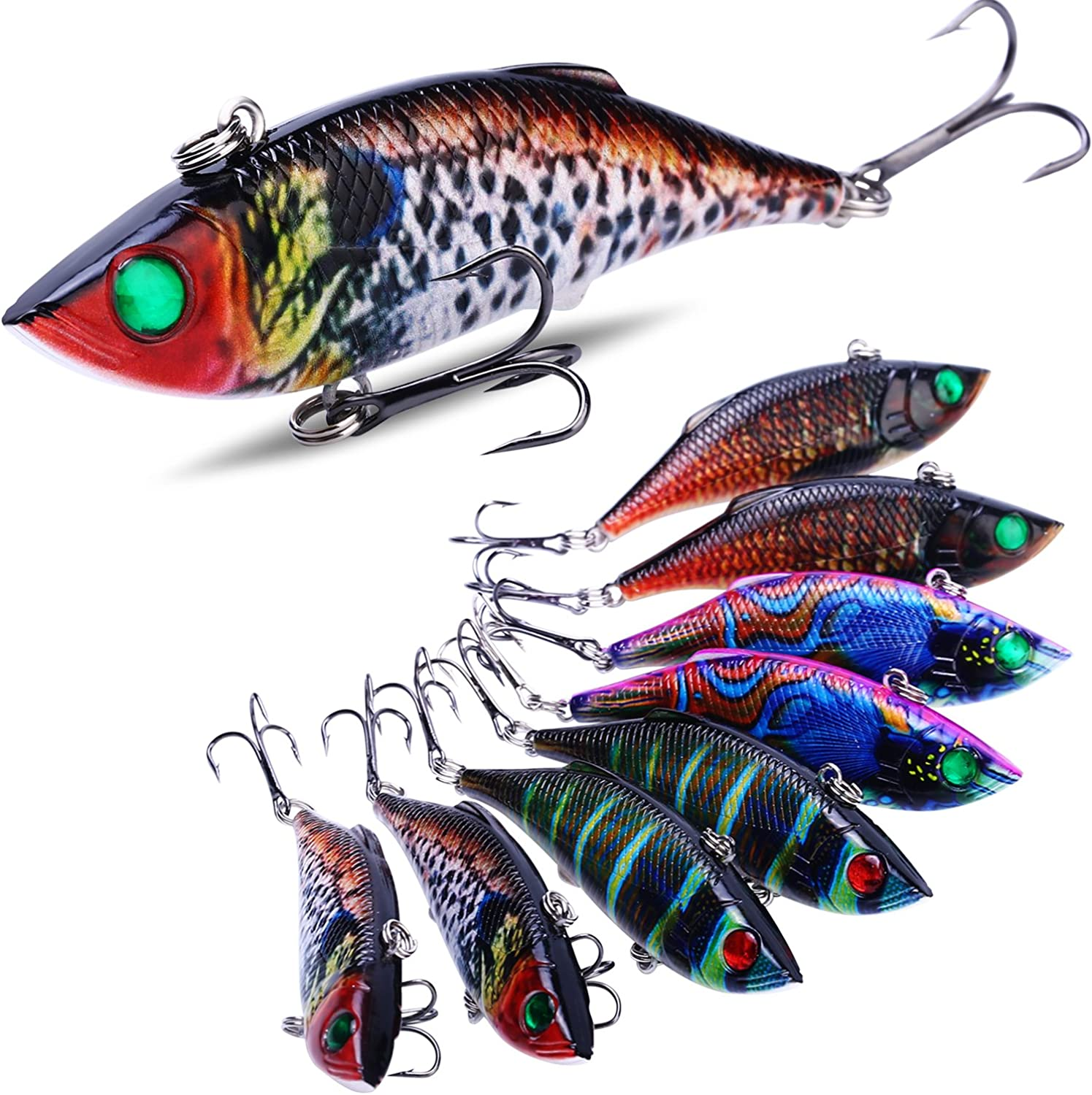 Sougayilang Fishing Lure  ABS Hard Plastic Toperwater Minnow Lure with Steel Ball Inside, Super Realistic color, VMC Hooks, 3D Eyes for Carp Bass Salmon Trout Pike Fishing