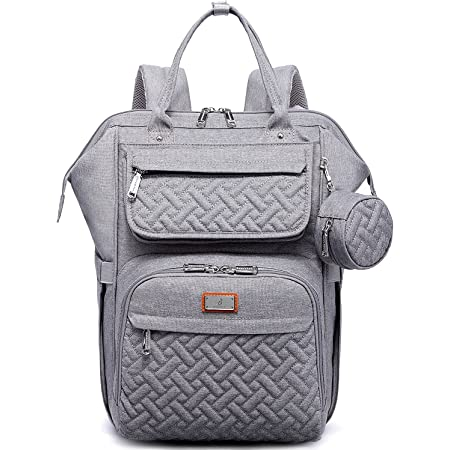Diaper Bag Backpack, BabbleRoo Multifunction Large Baby Bags with Changing Pad & Stroller Straps & Pacifier Case, Unisex Stylish Travel Back Pack Nappy Changing Bag for Moms Dads (Gray)