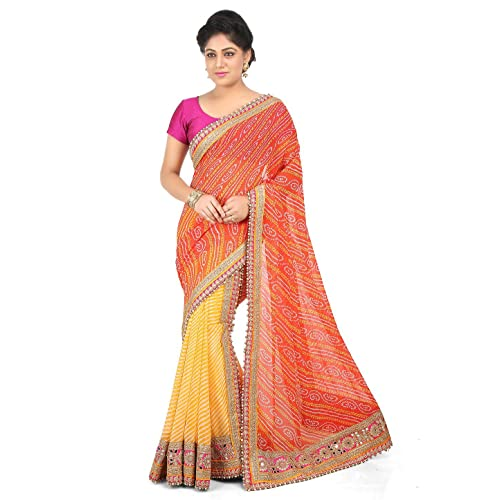 54a1ce7df1 Rajasthani Look Women's Two Part Georgette Saree in Orange and Yellow:  Amazon.in: Clothing & Accessories