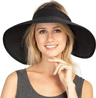 قبعات الشاطئ النسائية الواقية من الشمس - قابلة للطي لأعلى حافة واسعة القوس الصيف سترو قبعة كاب رحلة البحرية ارتداء للنساء