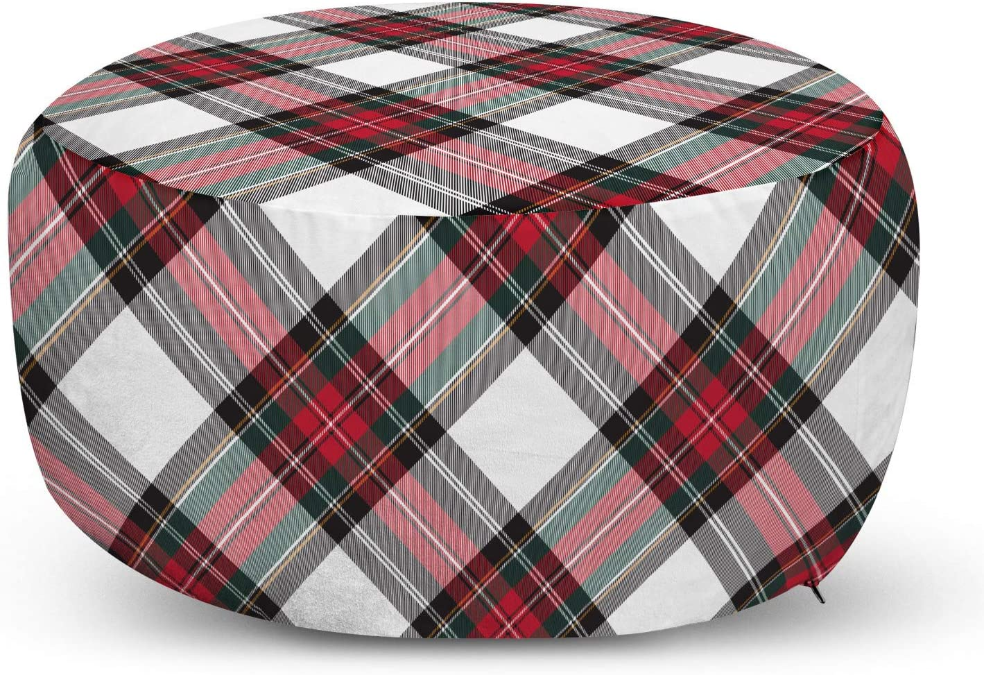 NEW before Max 47% OFF selling Ambesonne Tartan Pouf Cover with Traditional Plaid Zipper