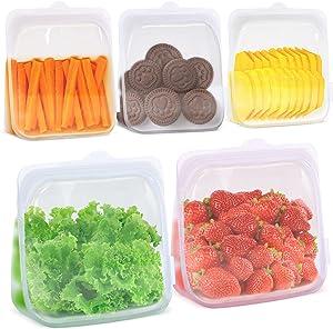 EcoEarth Reusable Food Storage Bags, 100% Food Grade Silicone Containers, Set of 5 Parsnip White (2 - Half-Gallon Size, 3 - Quart Size), Freezer-Safe, Dishwasher-Safe, Sous Vide-Safe & Microwave-Safe