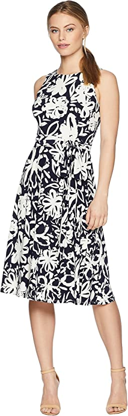 Petite B551 Coastal Floral Feliana Sleeveless Day Dress