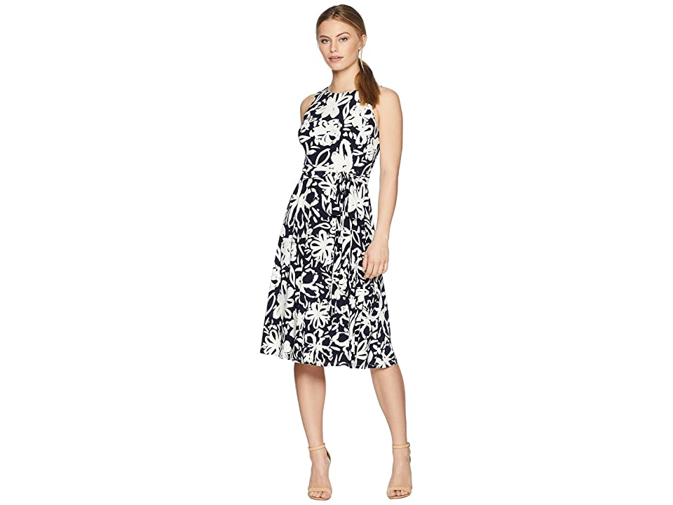 LAUREN Ralph Lauren Petite B551 Coastal Floral Feliana Sleeveless Day Dress (Lighthouse Navy/Colonial Cream) Women