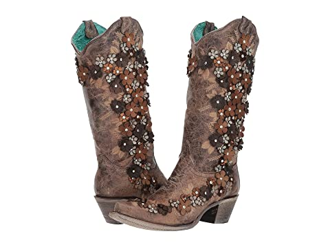 Corral boots a crystal flower applique western boots cowgirl