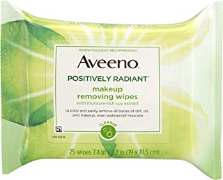 Aveeno Positively Radiant Oil-Free Makeup Removing Facial Cleansing Wipes to Help Even Skin Tone & Texture with Moisture-R...