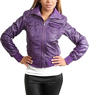 HOL Ladies Bomber Real Leather Jacket Short Slim Fit Casual Blouson Motto Purple