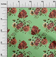 oneOone Cotton Poplin Twill Mint Green Fabric Leaves & Floral Artistic Sewing Fabric by The Meter Printed DIY Clothing Sew...