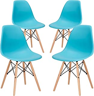 Poly and Bark Modern Mid-Century Side Chair with Natural Wood Legs for Kitchen, Living Room and Dining Room, Aqua (Set of 4)