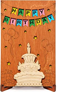 Happy Birthday Real Wood Greeting Card with Stand. Handmade Wooden Gift, Birthday Present for Her Girl Sister Daughter Mom or Him Boy Brother Son Dad. Card With Cake Design and Banner.