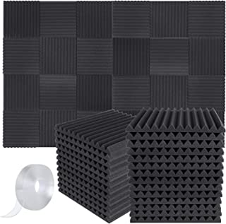 "Focusound 50 Packs Acoustic Foam Panels Wedge, 1"" X 12"" X 12"" Soundproof Studio Wall Tiles, Sound Absorbing with Double Si..."