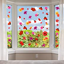 200 Pieces Hibiscus Window Clings Hibiscus Flower Window Stickers Summer Clings for Birthday Party Baby Hibiscus Hawaii Th...