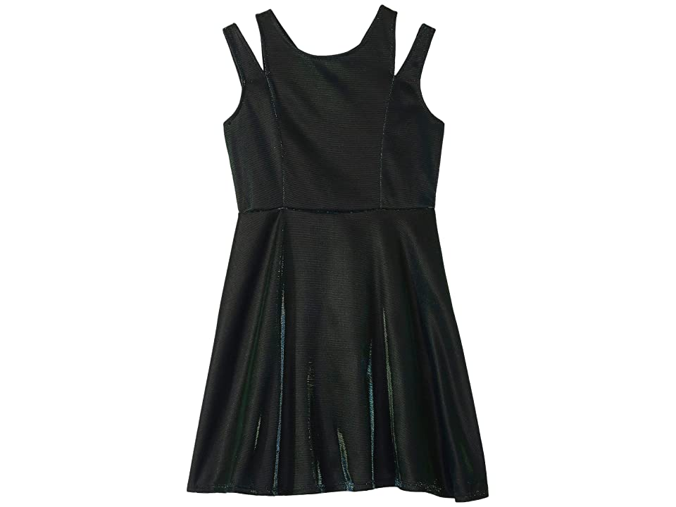 Us Angels Sleeveless Iridescent Skater Dress (Big Kids) (Navy/Green) Girl