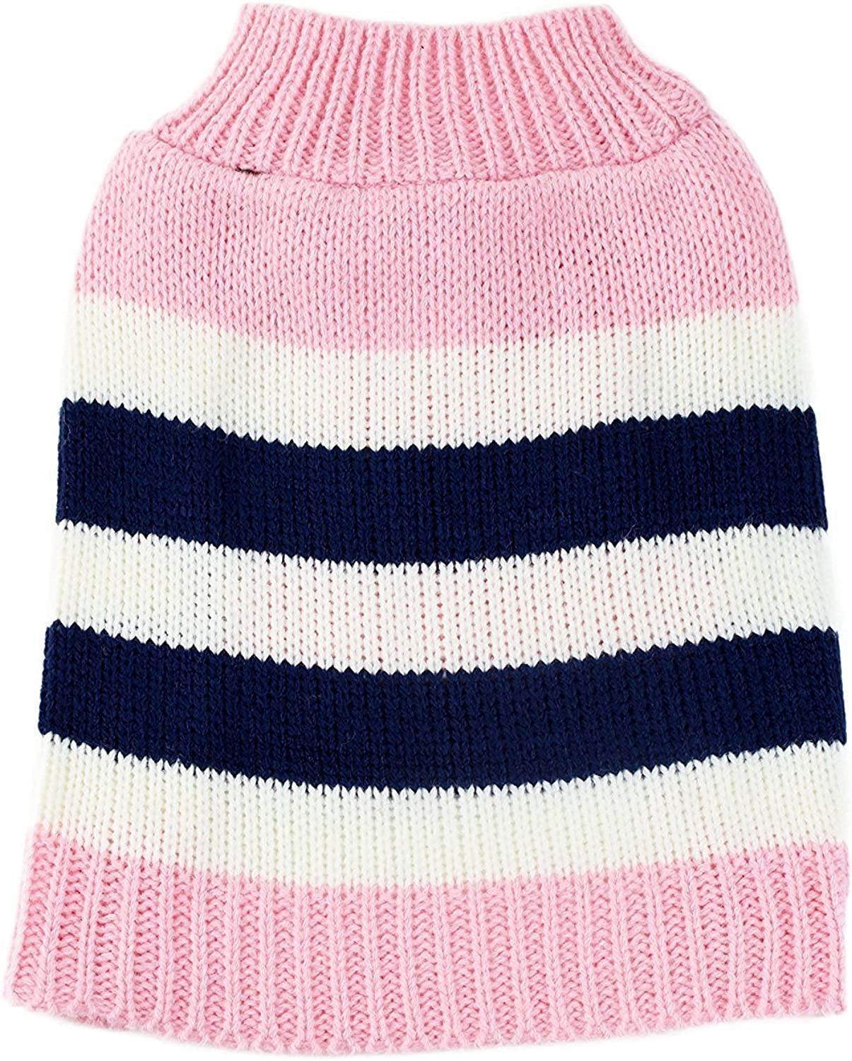 Pink Striped colorblock Dog Sweater by Midlee (Medium)