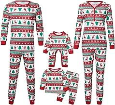 Jeash Christmas Family Pajamas Matching Sets,Christmas Snowflake Printed Button Down Top+Pants Xmas Family Matching Pajamas