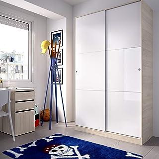 HOMEKIT Armario 2 Puertas correderas Natural y Blanco Brillo 120x204x50cm