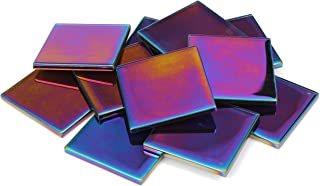 Milltown Merchants™ 1.8 Inch (48mm) Iridescent Mosaic Tile - Bulk Glass Mosaic Tiles - 3 Pound (48 oz) Multicolored Mirror Tile Assortment for Backsplash, Murals, Stepping Stones, and Mosaics