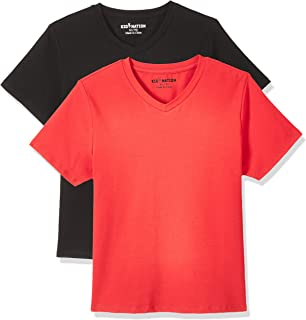 Kid Nation Kids Unisex 2 Packs and 3 Packs Soft Cotton with Elastane Short Sleeve V Neck T Shirts 4-12 Years